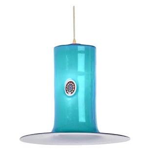 1960s Mid-Century Modern Alessandro Pianon for Vistosi Murano Art Glass Aqua Blue Pendant For Sale