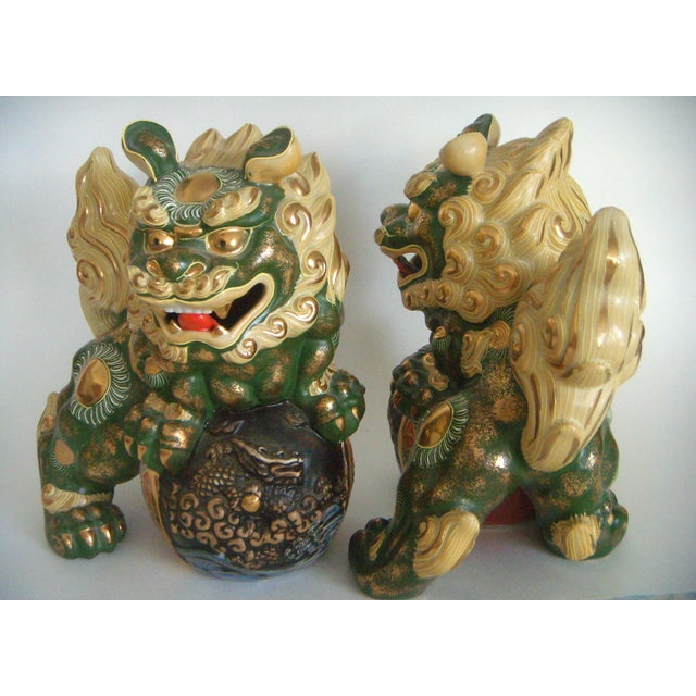 Signed Japanese Ceramic Foo Dogs A Pair Chairish