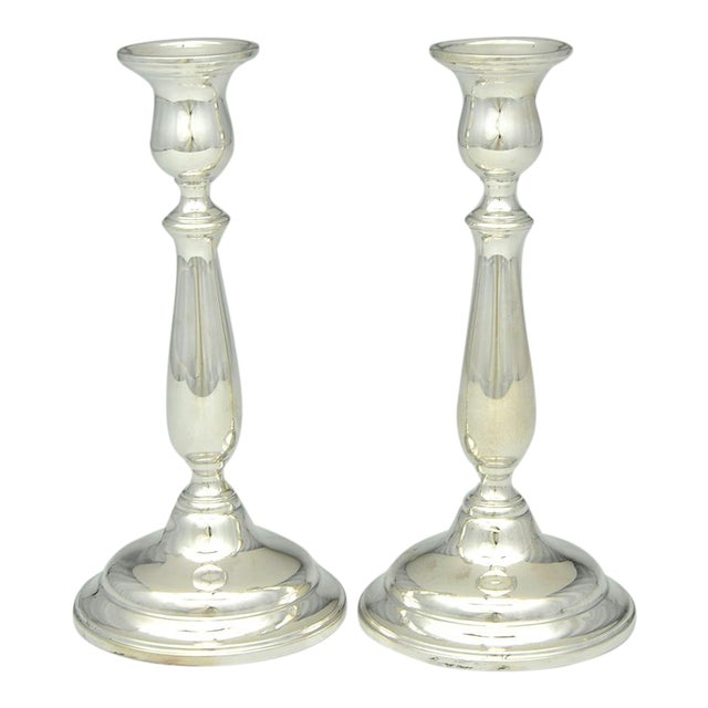 "1950s International Silver Lord Saybrook Sterling 9"" Candlesticks - a Pair For Sale"