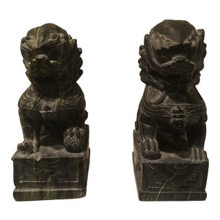 Dark Gray Marble Foo Dogs - a Pair For Sale