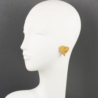 Christian Lacroix Paris Heart Clip on Earrings Textured Gilt Metal Preview