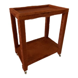 Orange Pony Hide Clad Rolling Side Table For Sale