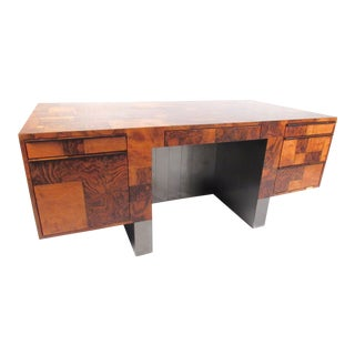 "Paul Evans ""Cityscape"" Burlwood Executive Desk For Sale"