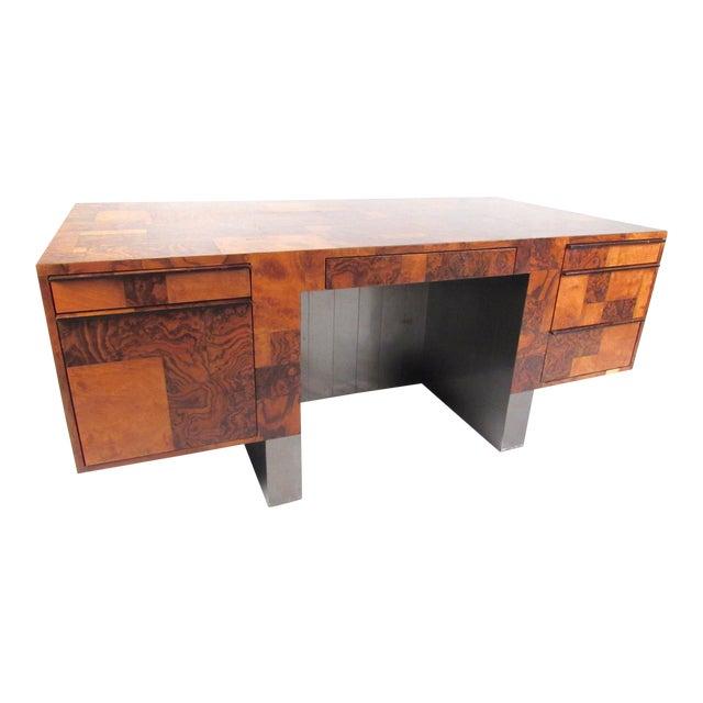 """Paul Evans """"Cityscape"""" Burlwood Executive Desk For Sale"""