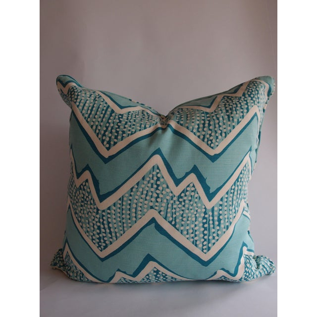 Quadrille Fabric Turquoise Zig Zag Pillow - Image 2 of 3