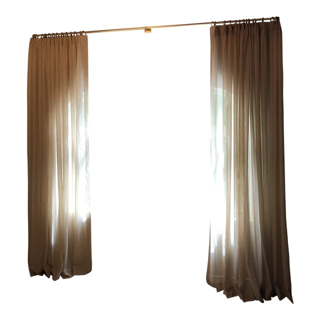 Loro Piana Drapery Panels With Lundy's French Rod in Gold Finish - Set of 3 For Sale