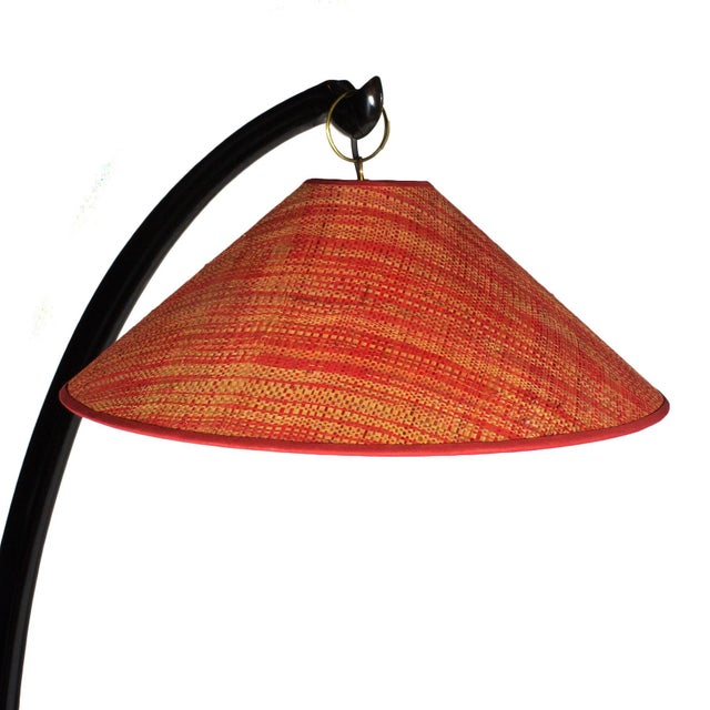 Wood 1950s Arched Standing Lamp, Mahogany, Rusty Red Raffia Lampshade, Italy For Sale - Image 7 of 9