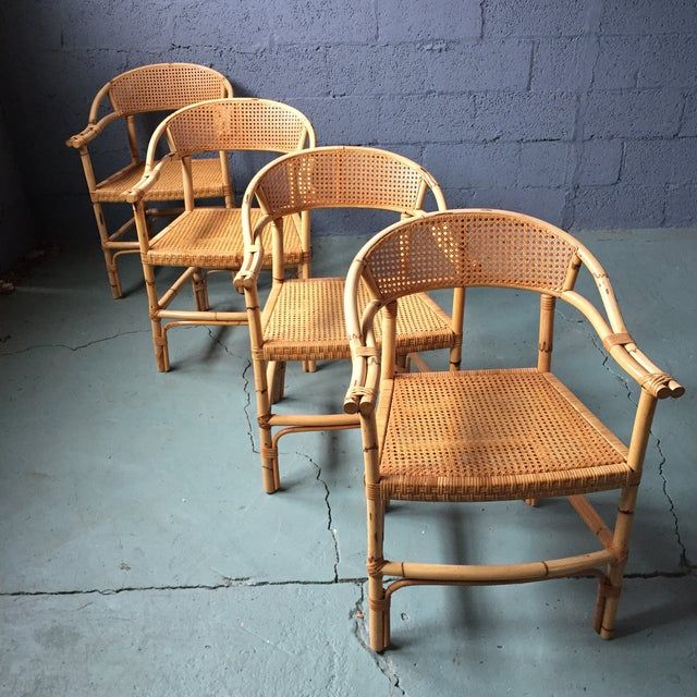 Bamboo and Cane Dining Chairs - Set of 4 - Image 3 of 11