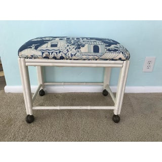 Vintage Drexel Faux Bamboo Vanity Stool Preview