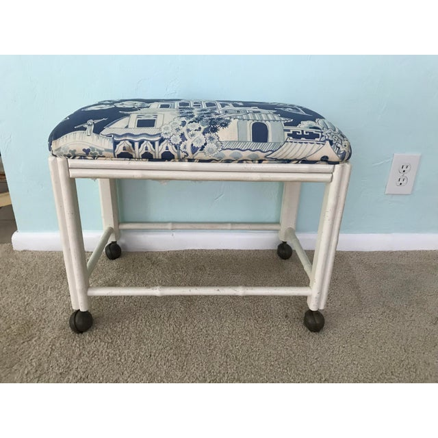 Straight from a Naples estate, this is a darling vintage Drexel faux bamboo piece has double bamboo legs and original...