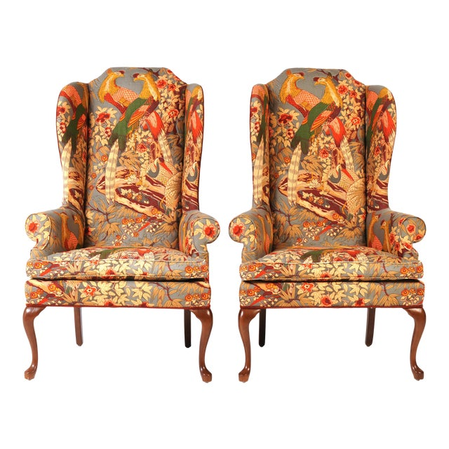 Wingback Chairs in Quilted Peacock Fabric - A Pair For Sale