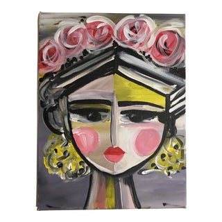"""Frida With Flowers"" Yellow Series Acrylic Painting For Sale"