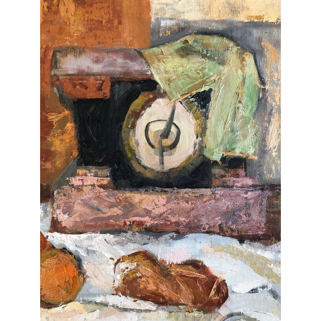 1960s 1960s Traditional Still Life Painting With Wine and Citrus on Board For Sale - Image 5 of 7