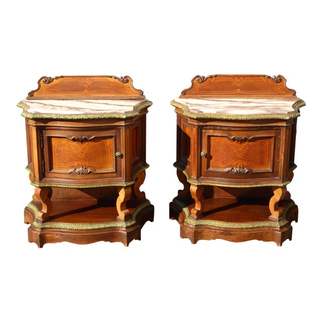 Antique French/Italian White Marble Top Nightstands - a Pair - Image 1 of 11
