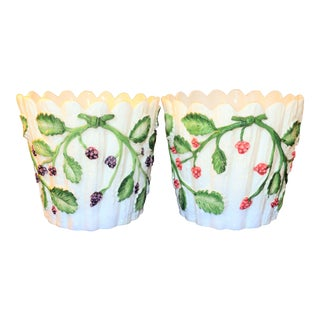 Vintage Tiffany and Co. Majolica Berry Cachepots- a Pair For Sale
