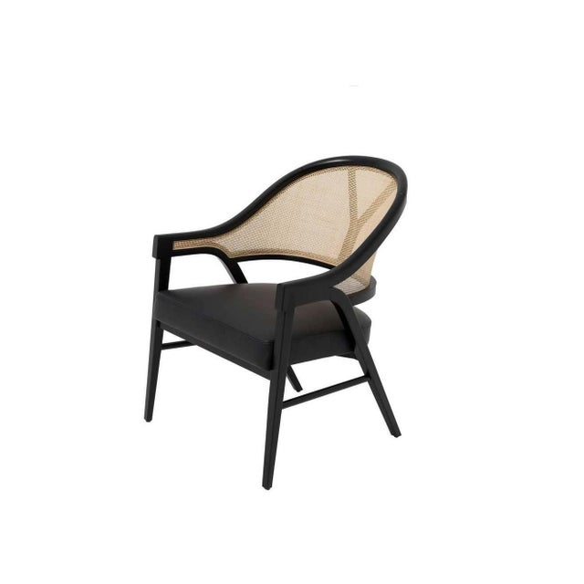 Mid-Century Modern Paulo Antunes Contemporary Dining Chairs in Cane and Solid Wood - Set of 4 For Sale - Image 3 of 7