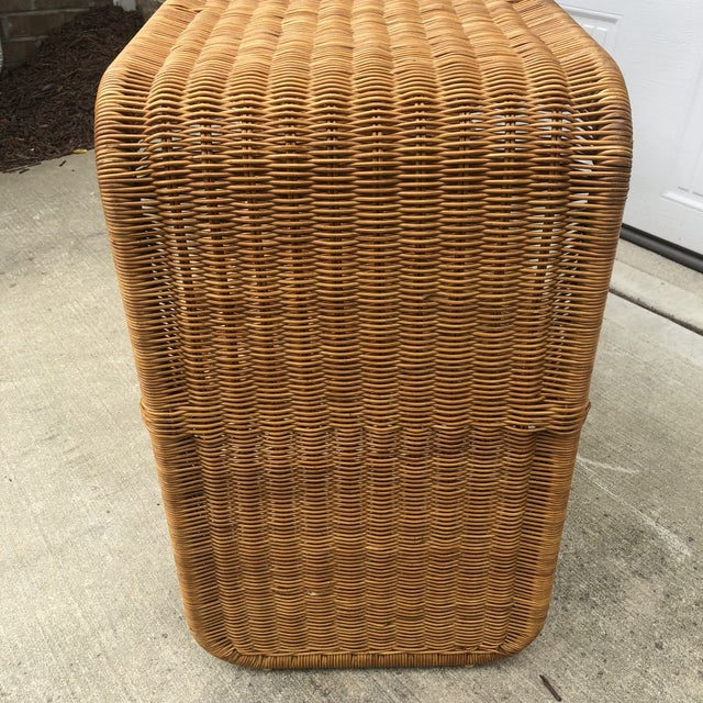 Boho Chic 1970s Boho Chic Woven Wicker Console Table For Sale - Image 3 of 7