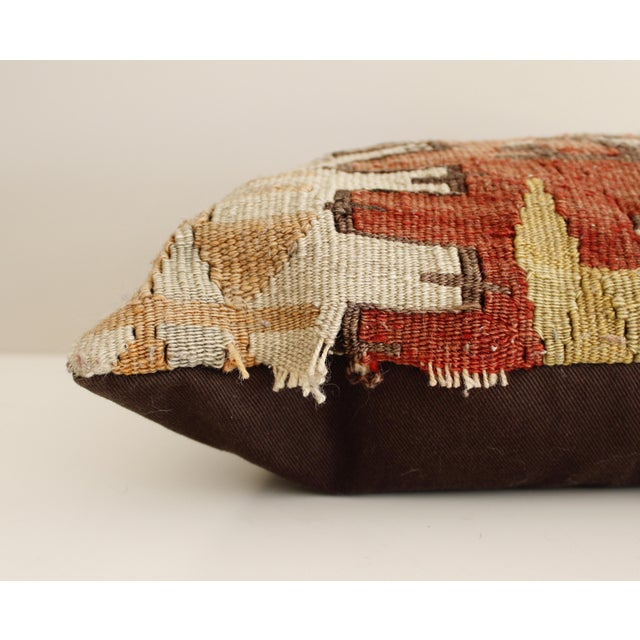Vintage Turkish Kilim Pillow Multi Color Reds Brown Bohemian Mid Century For Sale - Image 4 of 5