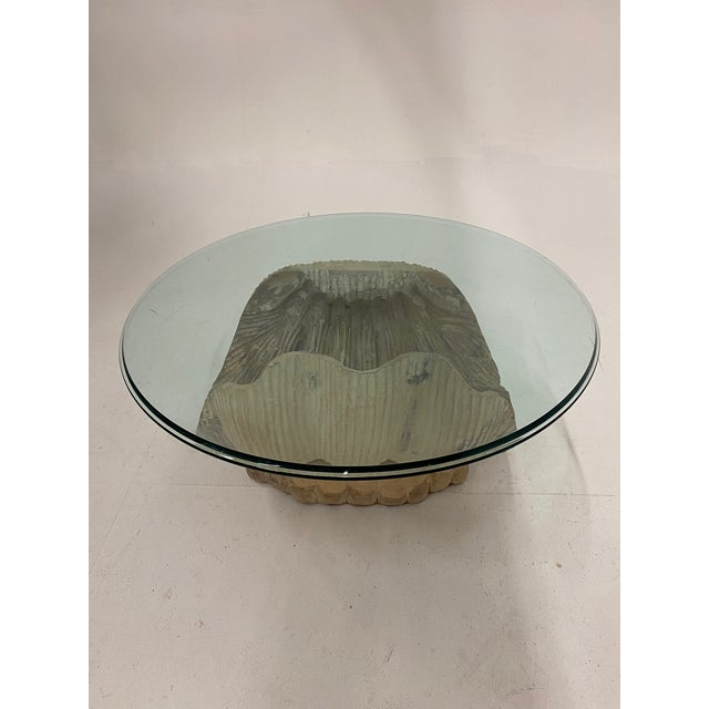 1960s Italian Carved Wood Shell Base Coffee Table With Round Glass Top For Sale - Image 5 of 13