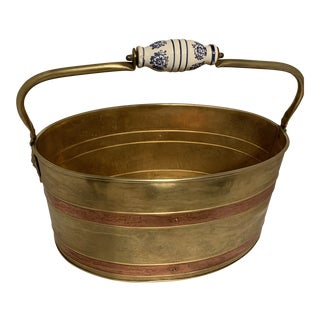 Mid 20th Century Brass & Copper Coal Bucket With Lion Heads Ceramic Handle For Sale