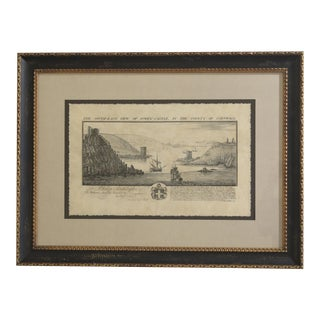 1990s Fowey Castle Framed & Matted English Print For Sale
