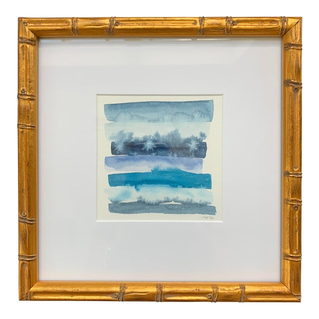 Original Abstract Watercolor in Shades of Blue For Sale