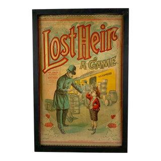 1906 Chromolithograph 'Lost Heir' Milton Bradley Children's Game Box Lid, Framed For Sale
