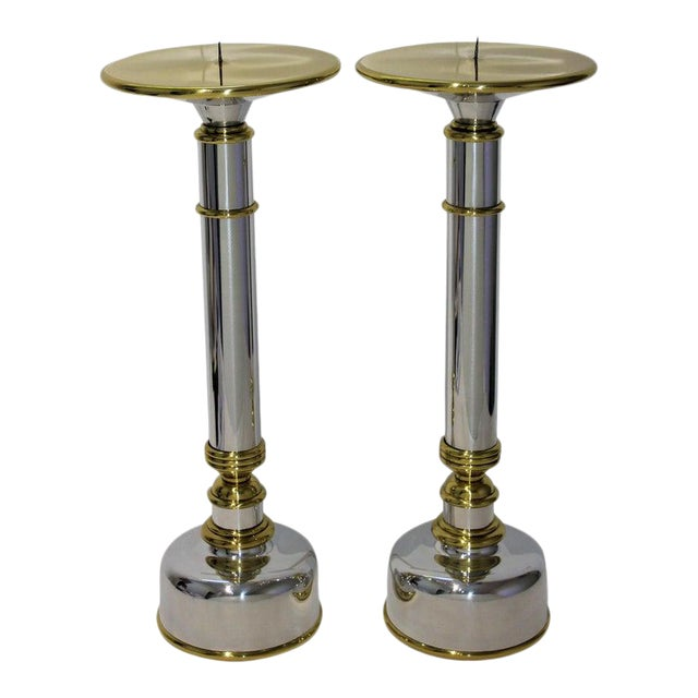 Mid-Century Modern Candlesticks in Aluminum and Brass - a Pair For Sale