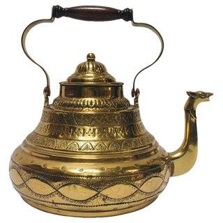 Antique Moroccan Brass Tea Kettle Pot With Camel Spout For Sale
