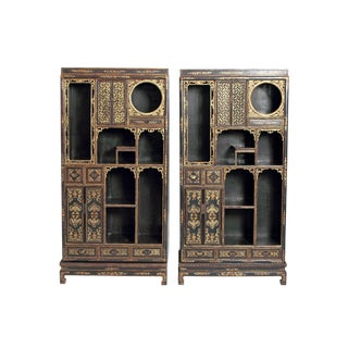 Pair of Black Lacquer Chinese Display Cabinets For Sale