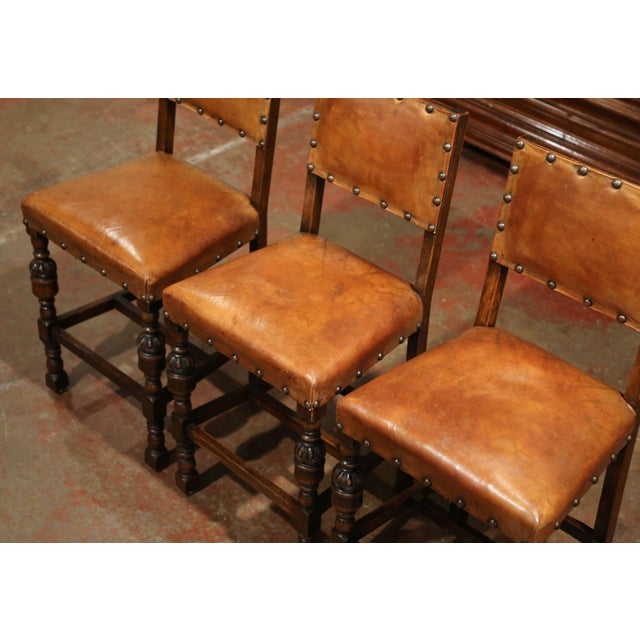 Set Of Three 19th Century French Carved Oak And Brown