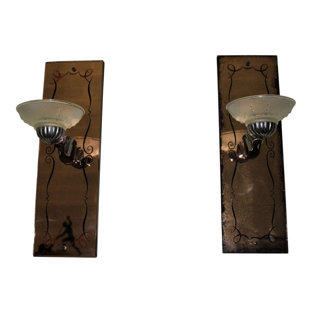 Pair of French Art Deco Pink Mirror Sconces by G.Leleu Circa 1940s - Image 1 of 11