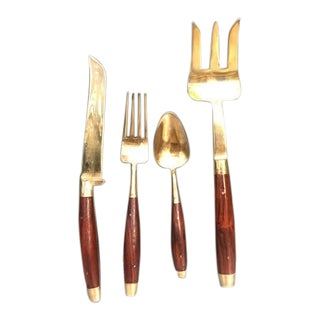 1950s Mid Century Bronzed Nickel & Wood Flatware Set in Box - Set of 18 For Sale