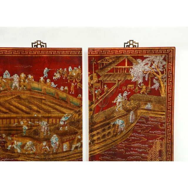 Series of Six Red Lacquered Chinoiserie Panels For Sale - Image 10 of 11