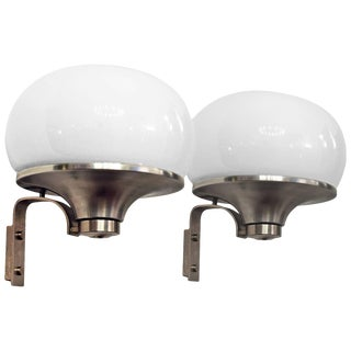 1960´s Pair of Large Rounded Wall Lights, nickel-plated brass, opaline - Italy For Sale