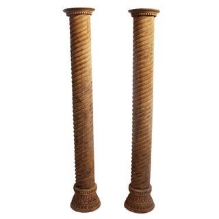 Rajasthan Colonial Teak Columns - A Pair