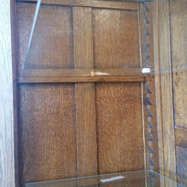 Antique Oak Barley Twist Bookcase Display China Cabinet / Bookcase Hutch For Sale - Image 11 of 12