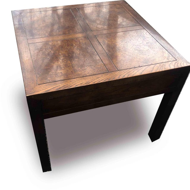 1970s Henredon Campaign Parquetry Top Burl Walnut End Table For Sale - Image 5 of 6