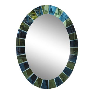 Custom Oval Mirror with Blue and Green Beveled Mirror Squares Surround For Sale