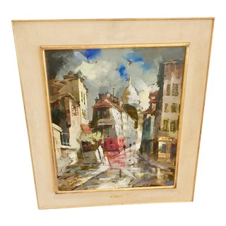 French Original Oil Painting of Montmartre. Bige School of Paris For Sale