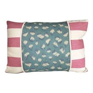 Kim Salmela Aqua Pink Patchwork Pillow For Sale