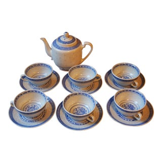 Chinese Blue & White Dragon 13 Piece Tea Set For Sale