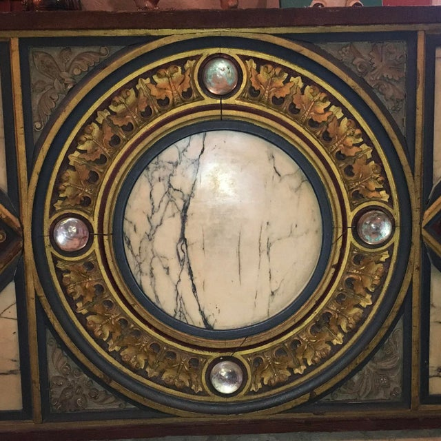 Antique Early French Polychrome Wood, Marble, and Glass Panel circa 18c. - early 19c. measuring approximately 8 feet 6...