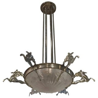Degue Signed French Art Deco Chandelier With Mythical Horses For Sale