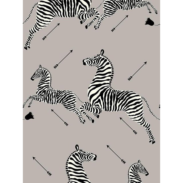 Safari Scalamandre Zebras, Silver Wallpaper For Sale - Image 3 of 3