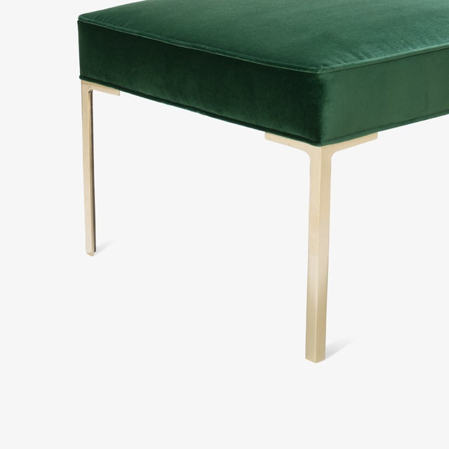 Montage Astor Square Brass Ottomans in Emerald Velvet by Montage, Pair For Sale - Image 4 of 8