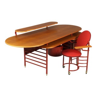 1990s Modern Frank Lloyd Wright Johnson's Wax Desk & Chair - 2 Pieces