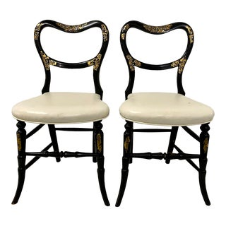 Pair of Mid 19th Century Black Lacquer Chairs W/ Mother of Pearl Inlay For Sale