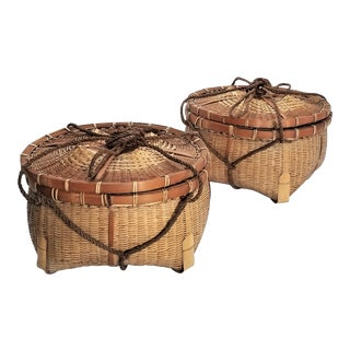 Large Authentic Vintage Mid Century Japanese Fishing Baskets - a Pair - Asian Organic Modern Natural Wicker Bamboo For Sale