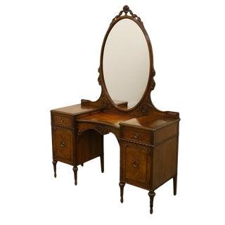 Antique Berkey & Gay Louis XVI French Burled Walnut Mirror Vanity For Sale